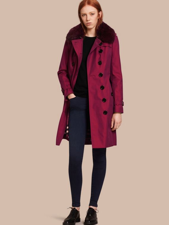 Cotton Gabardine Trench Coat with Detachable Fur Collar and Warmer Crimson