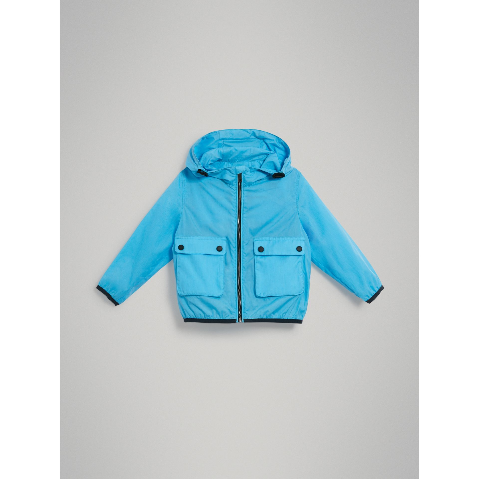 Showerproof Hooded Jacket in Bright Turquoise - Boy | Burberry United States - gallery image 2