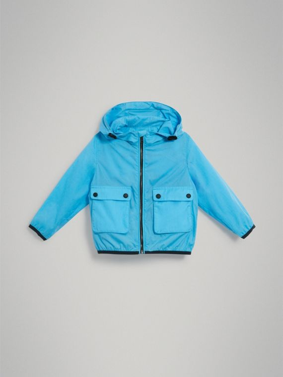 Showerproof Hooded Jacket in Bright Turquoise - Boy | Burberry Australia - cell image 2