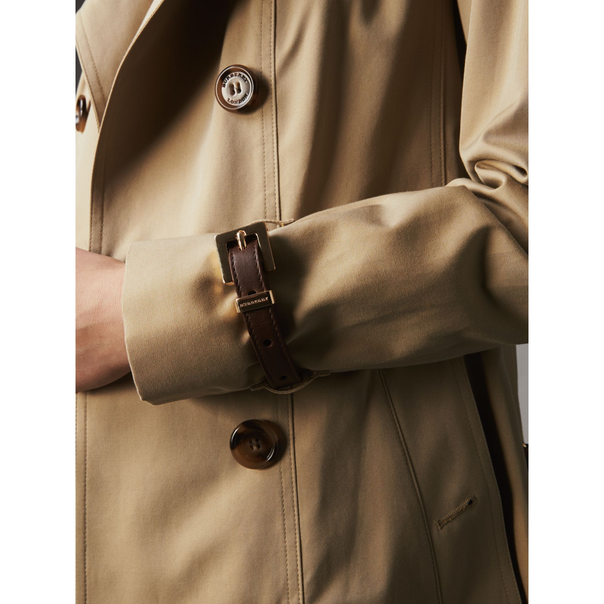 Leather Trim Cotton Gabardine Trench Coat in Honey - Women | Burberry - gallery image 2