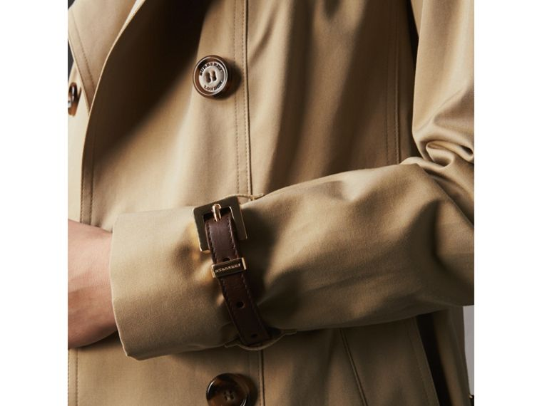 Leather Trim Cotton Gabardine Trench Coat in Honey - Women | Burberry - cell image 1