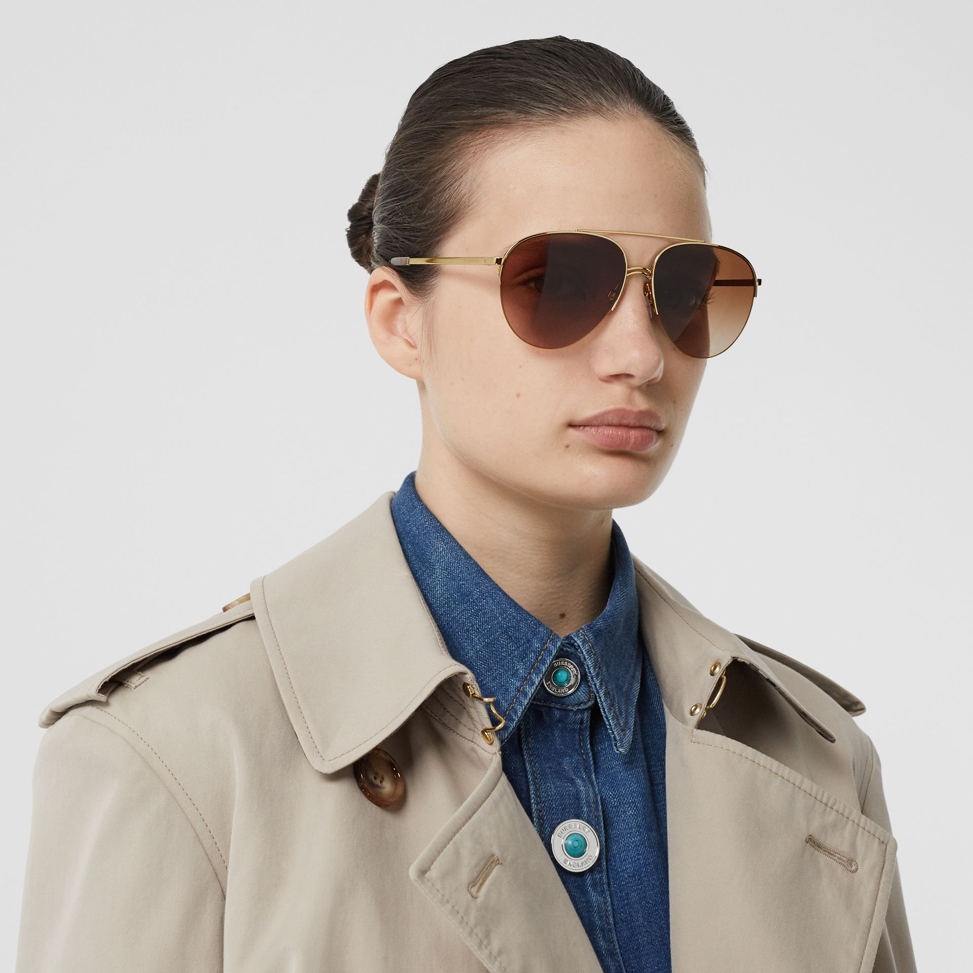 Top Bar Detail Pilot Sunglasses in Light Brown - Women | Burberry - gallery image 2