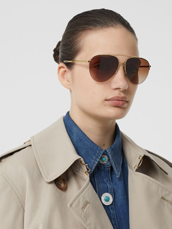 Top Bar Detail Pilot Sunglasses in Light Brown - Women | Burberry - cell image 2