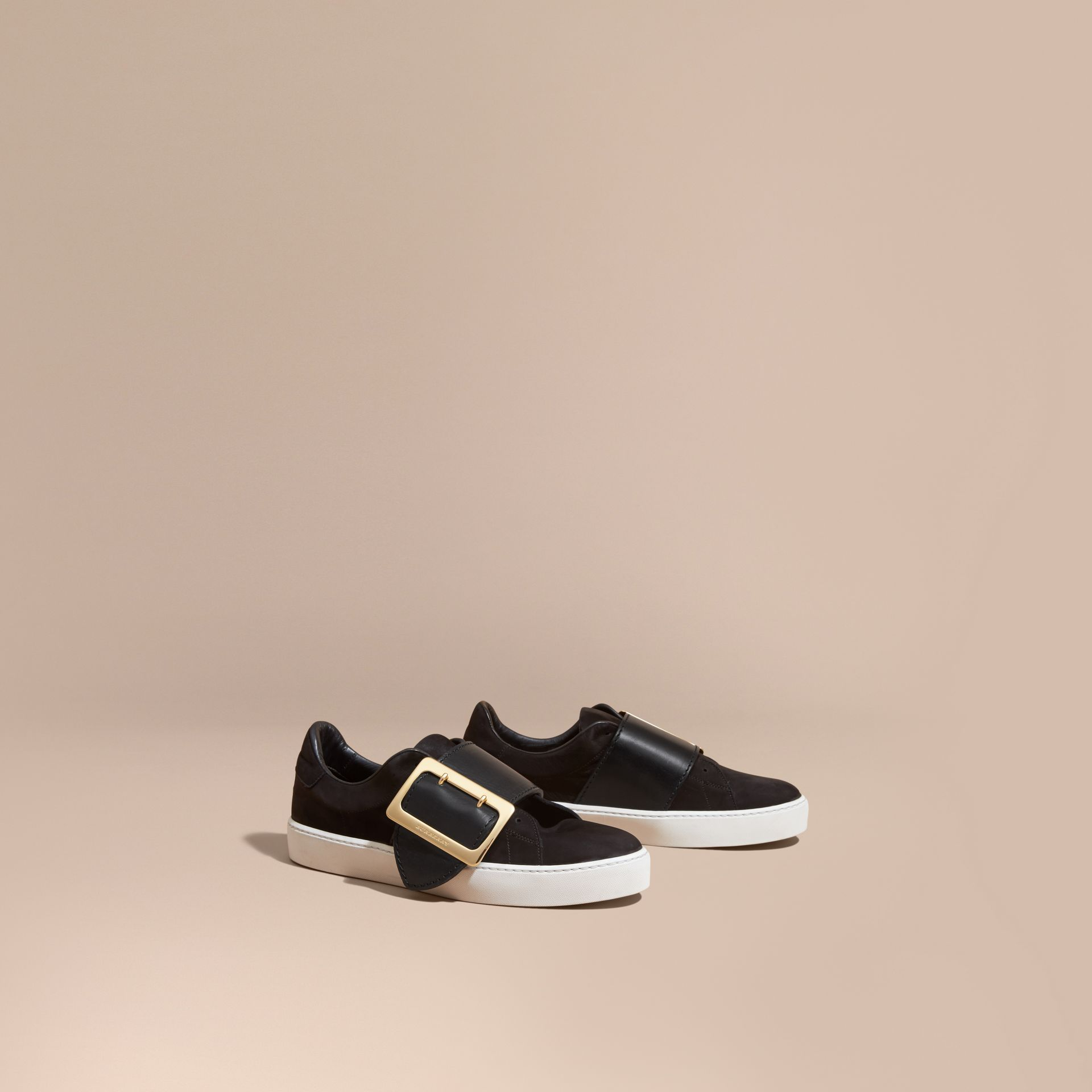 Oversize Buckle Detail Suede and Leather Trainers - gallery image 1