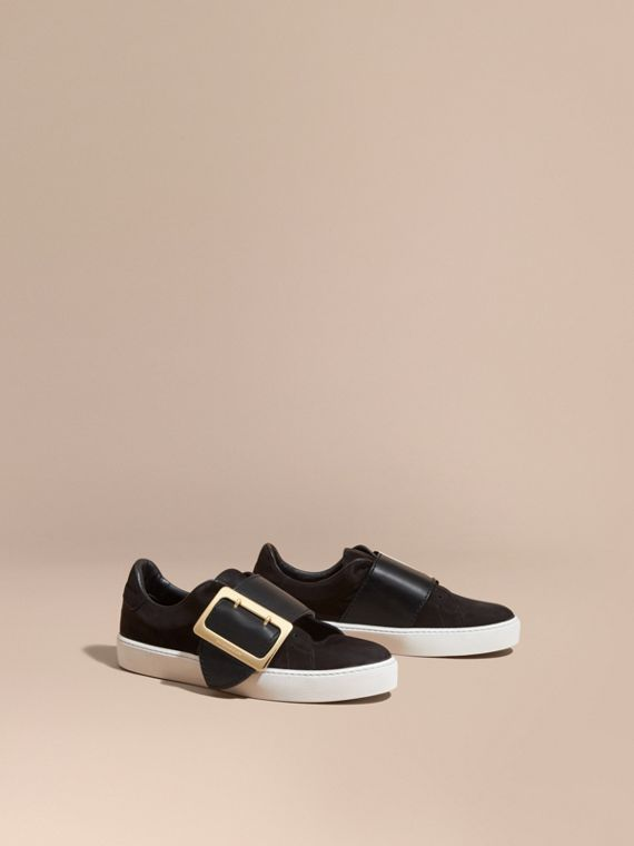 Oversize Buckle Detail Suede and Leather Trainers