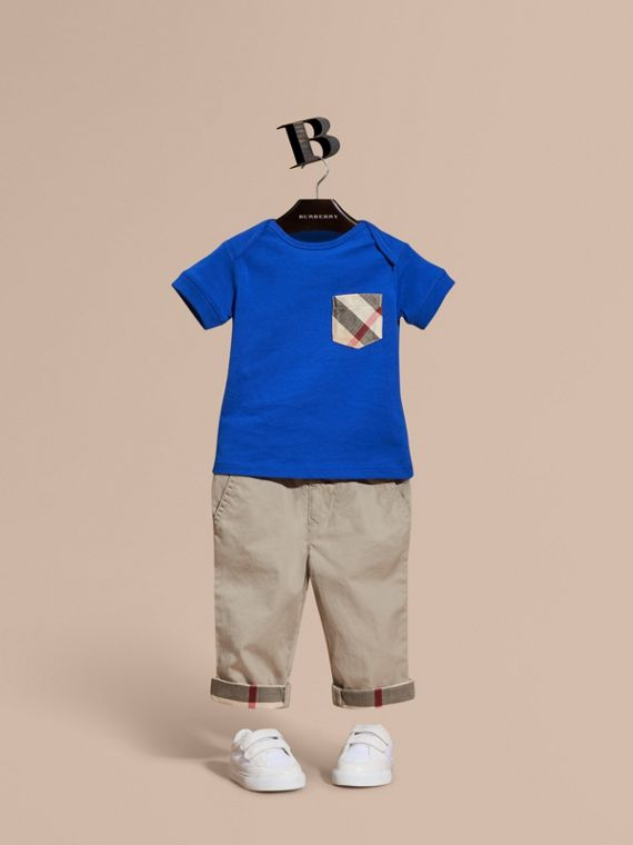 Check Pocket T-Shirt Brilliant Blue