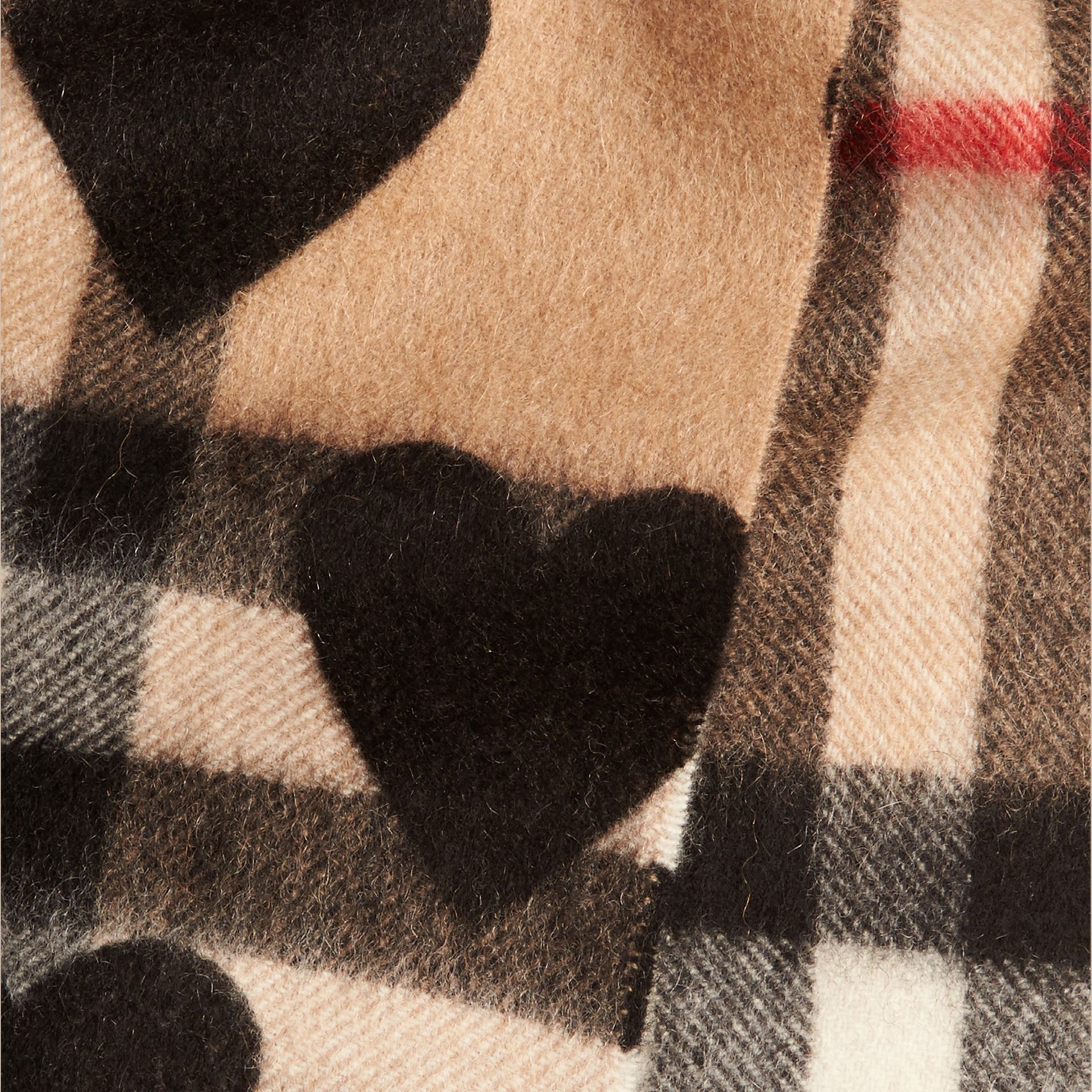 The Mini Classic Check Cashmere Scarf with Hearts in Black | Burberry - gallery image 4