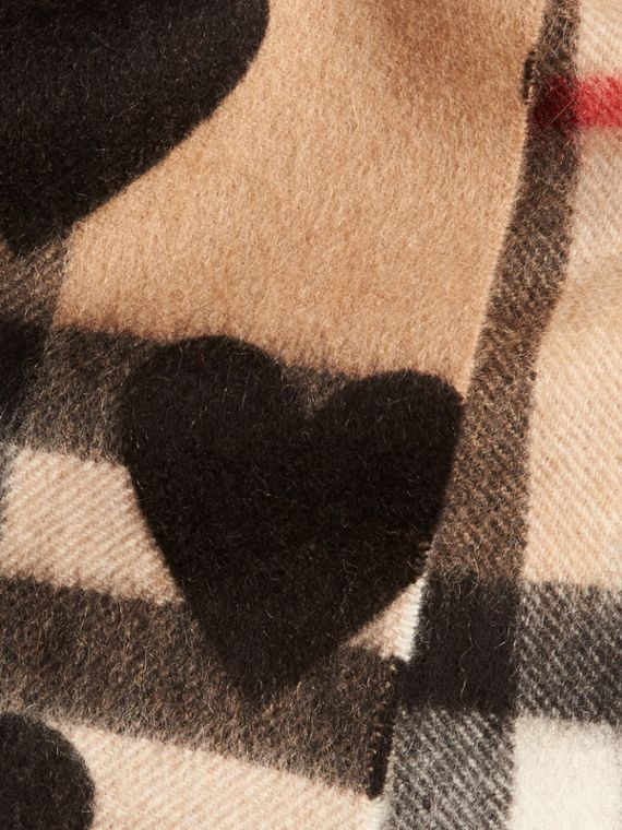 The Mini Classic Cashmere Scarf in Check and Hearts in Black | Burberry - cell image 3