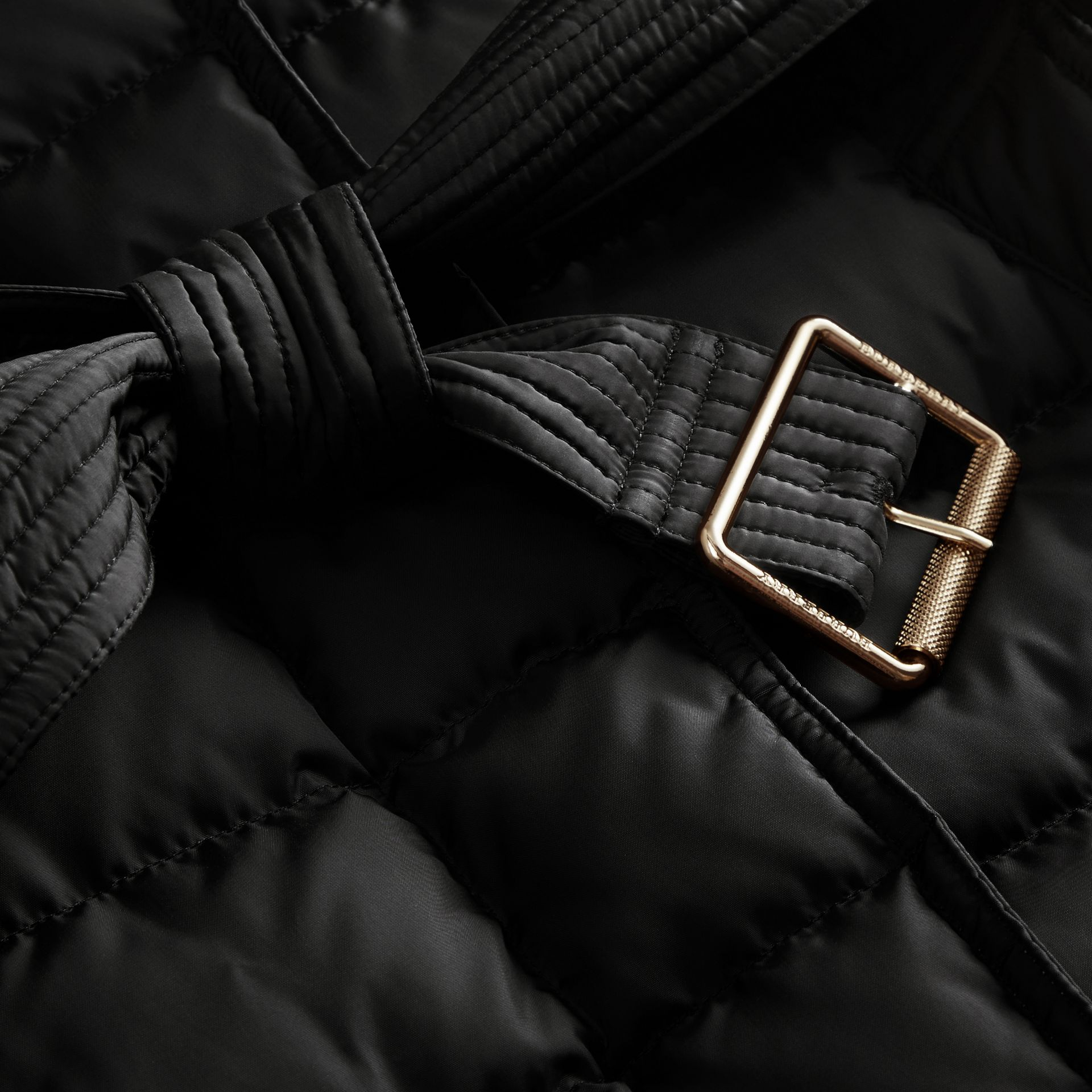 Down-filled Puffer Jacket with Packaway Hood in Black - Women | Burberry - gallery image 2