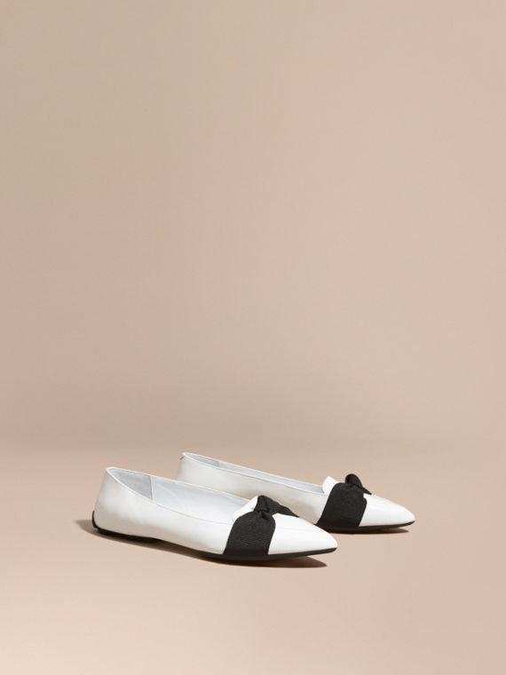 Patent Leather Loafers with Grosgrain Bow Off White