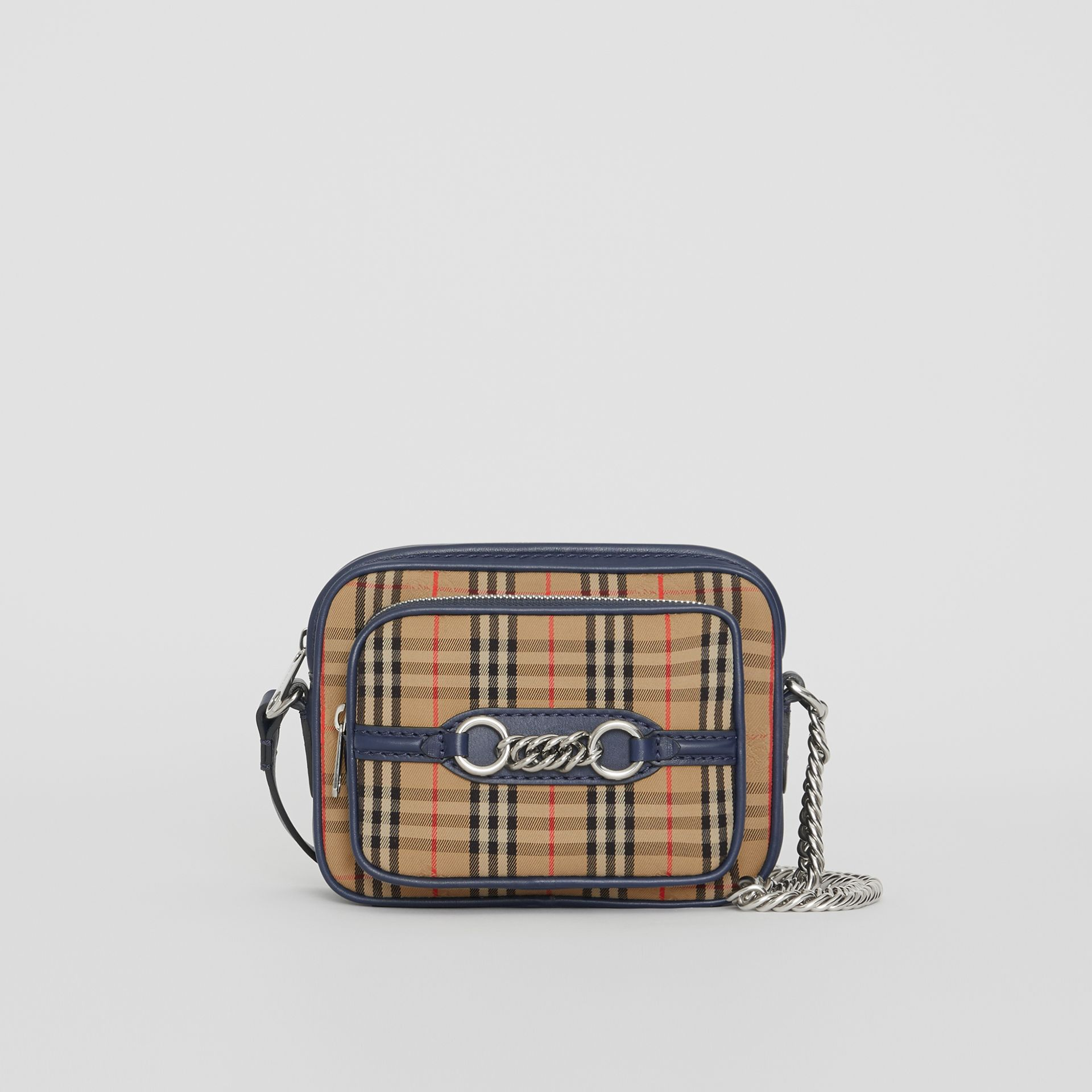The 1983 Check Link Camera Bag in Ink Blue - Women | Burberry - gallery image 0