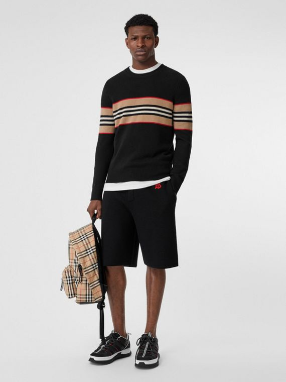 Icon Stripe Detail Cashmere Sweater in Black