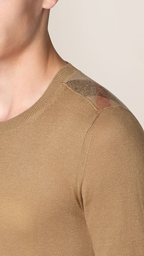 Camel Check Detail Cotton Cashmere Sweater - Image 3