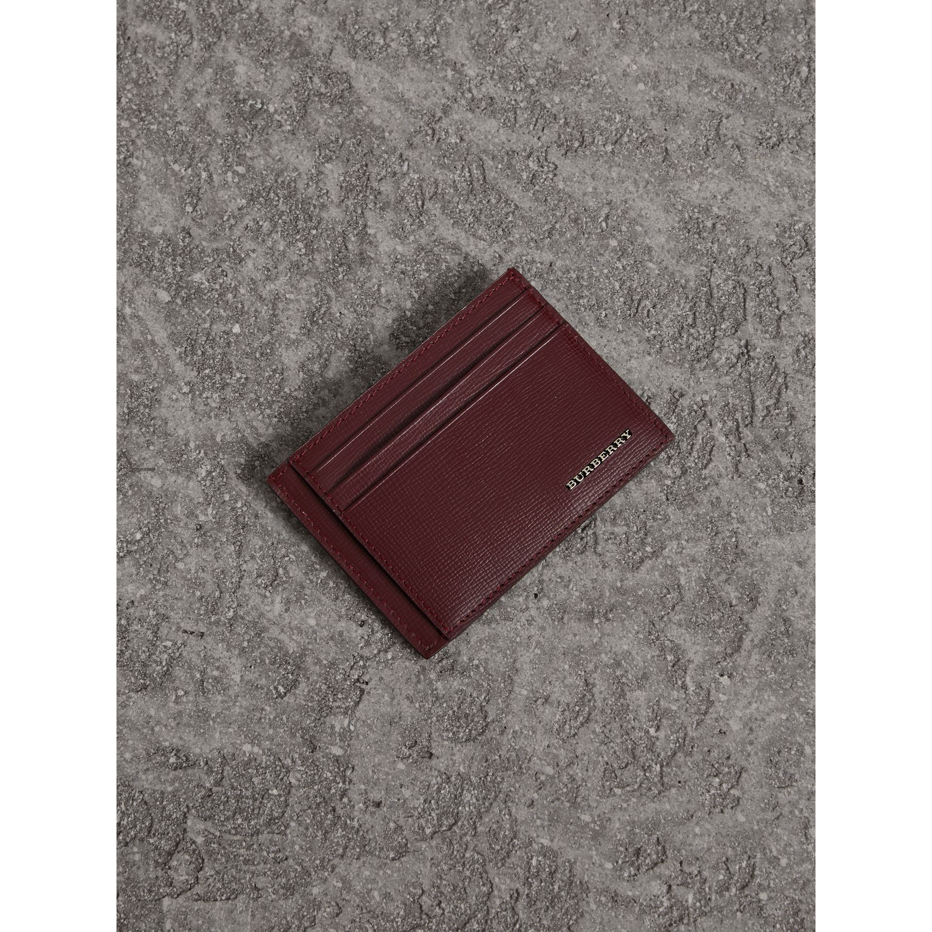 London Leather Card Case in Burgundy Red | Burberry United States - gallery image 0