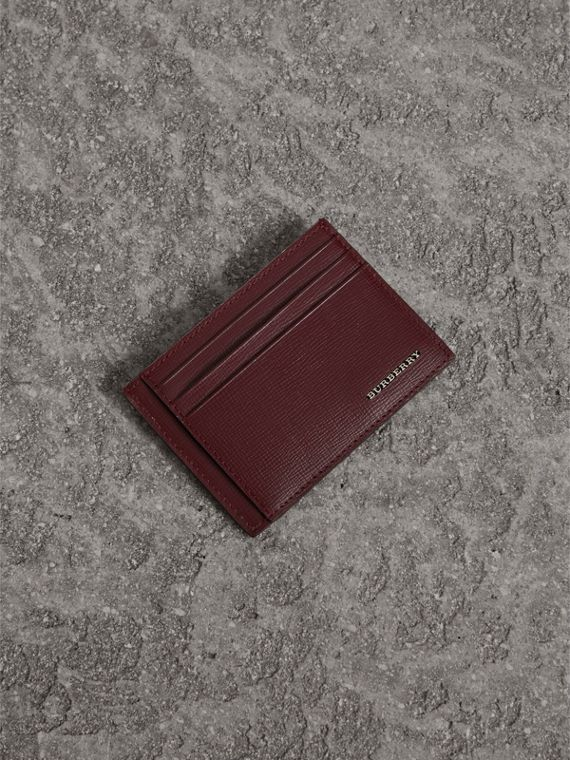 London Leather Card Case in Burgundy Red