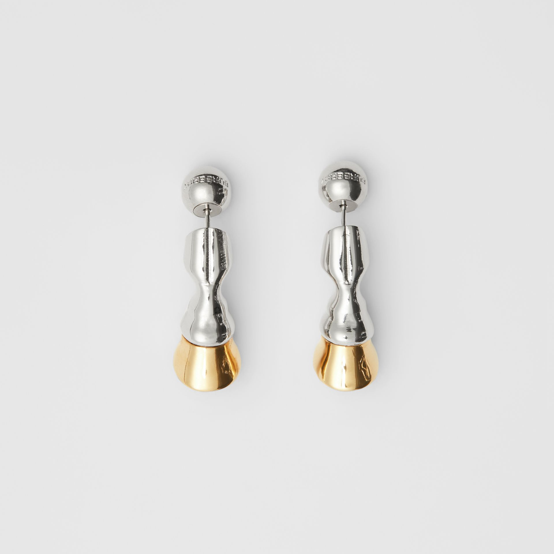 Gold and Palladium-plated Hoof Earrings in Palladium/light - Women | Burberry - gallery image 0