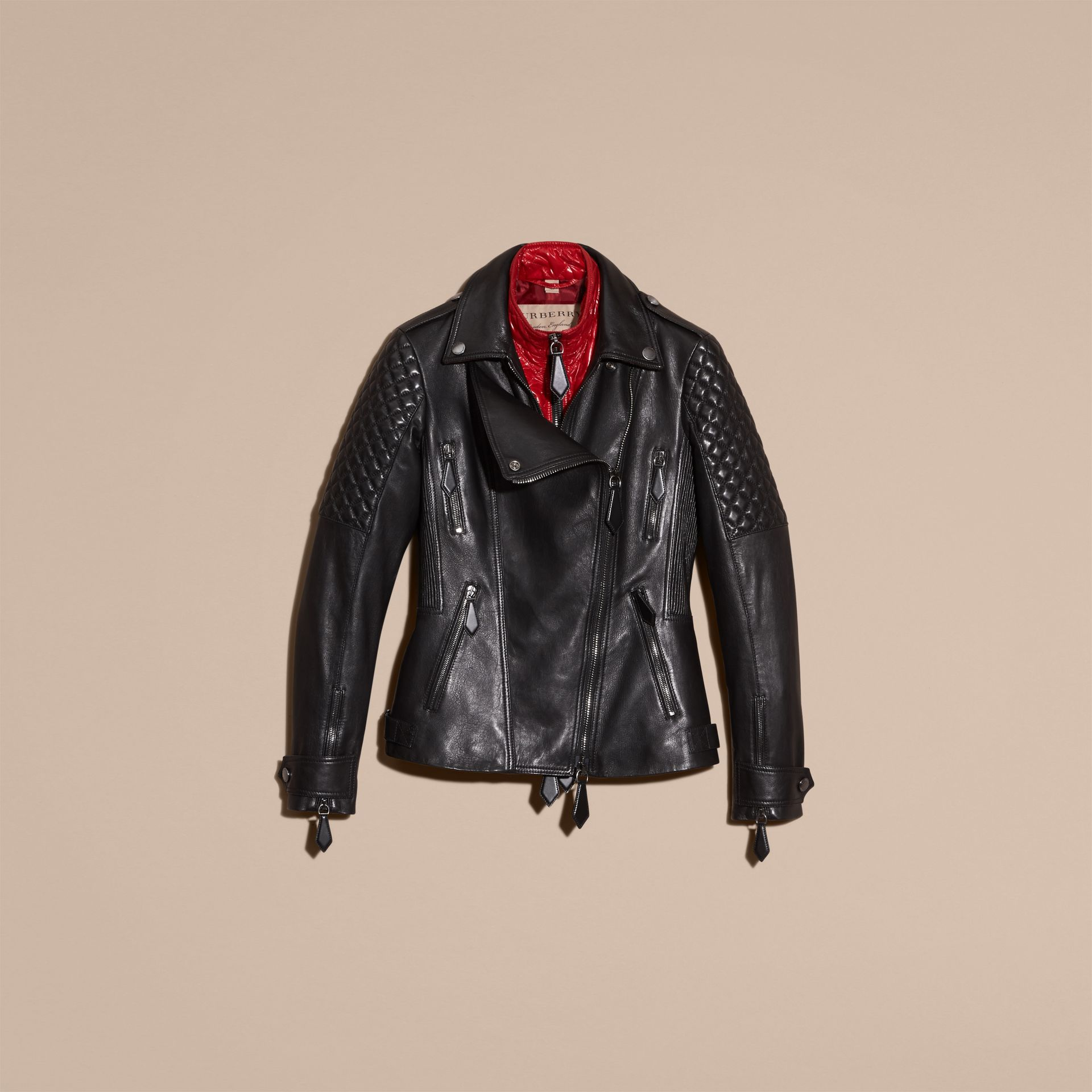 Black Lived-in Lambskin Biker Jacket with Detachable Warmer - gallery image 4