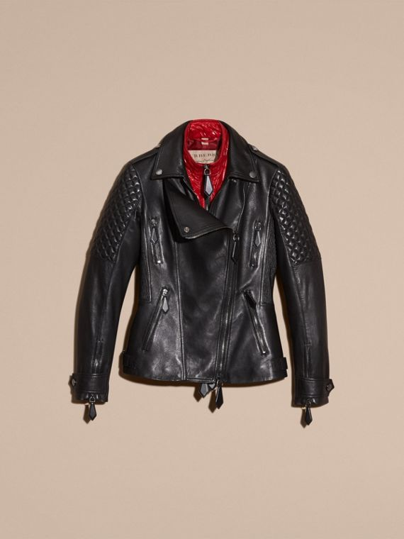 Black Lived-in Lambskin Biker Jacket with Detachable Warmer - cell image 3