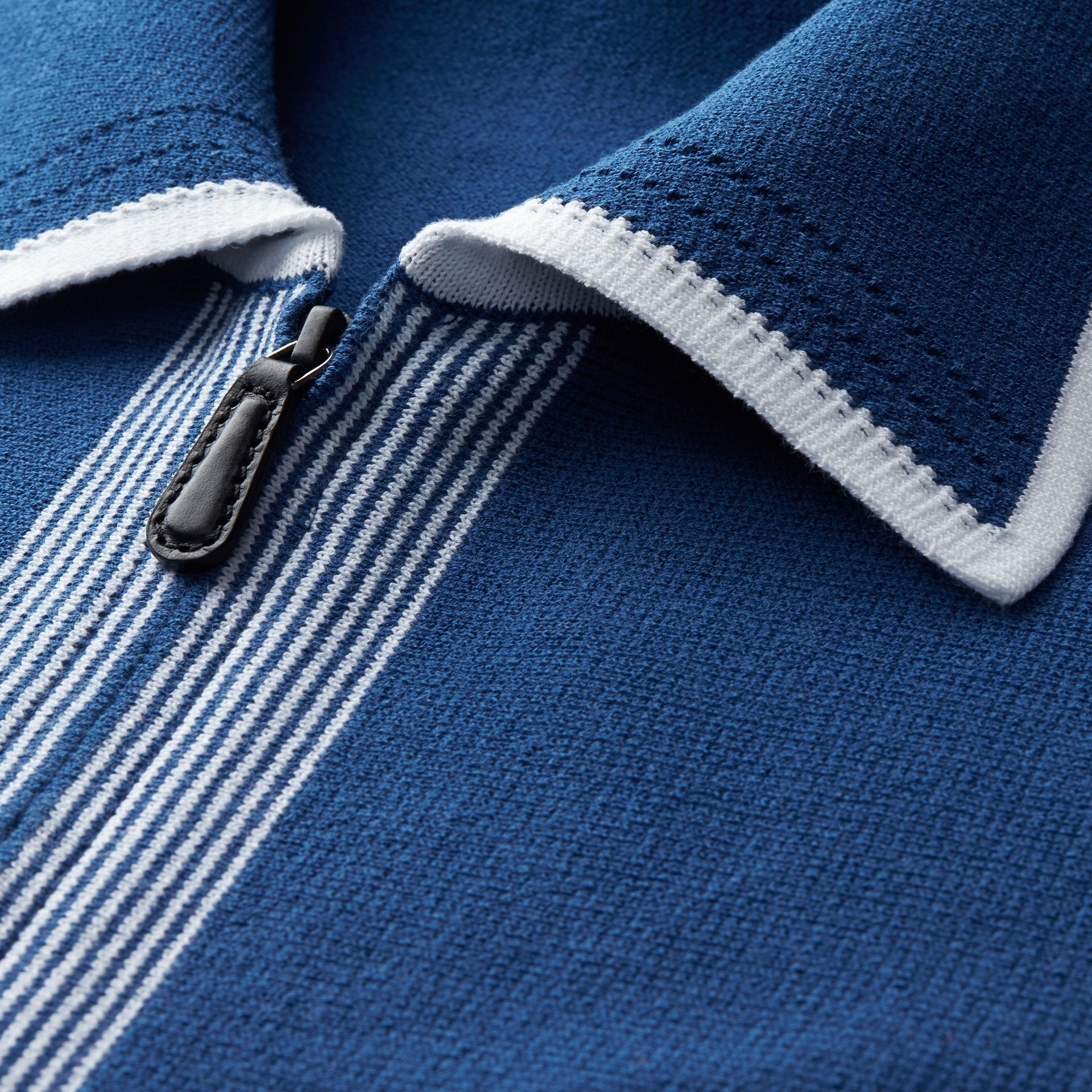 Deep cerulean blue Border Detail Technical Cotton Cardigan Deep Cerulean Blue - gallery image 2