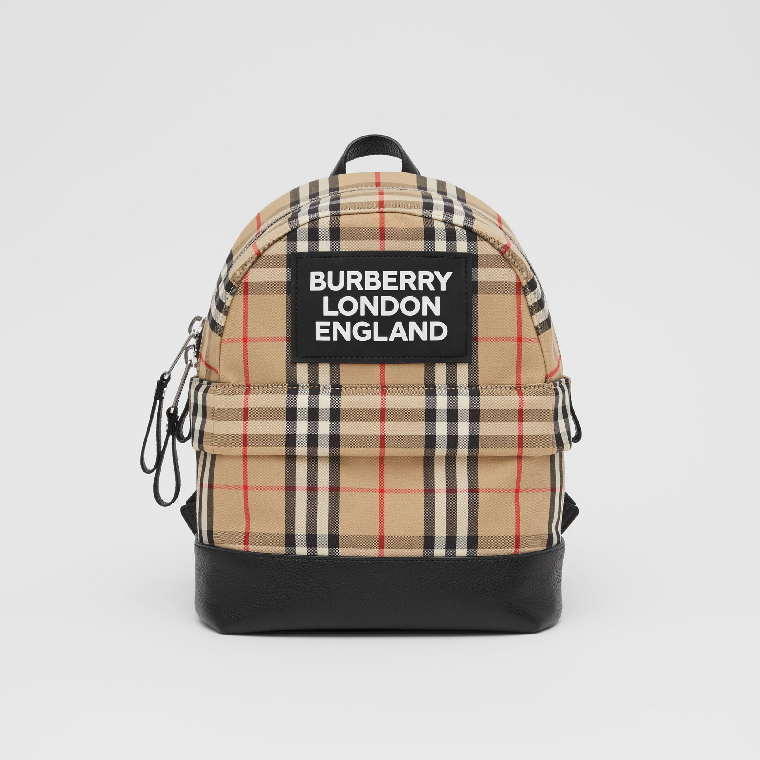 Logo Appliqué Vintage Check Backpack in Archive Beige - Children | Burberry - 1