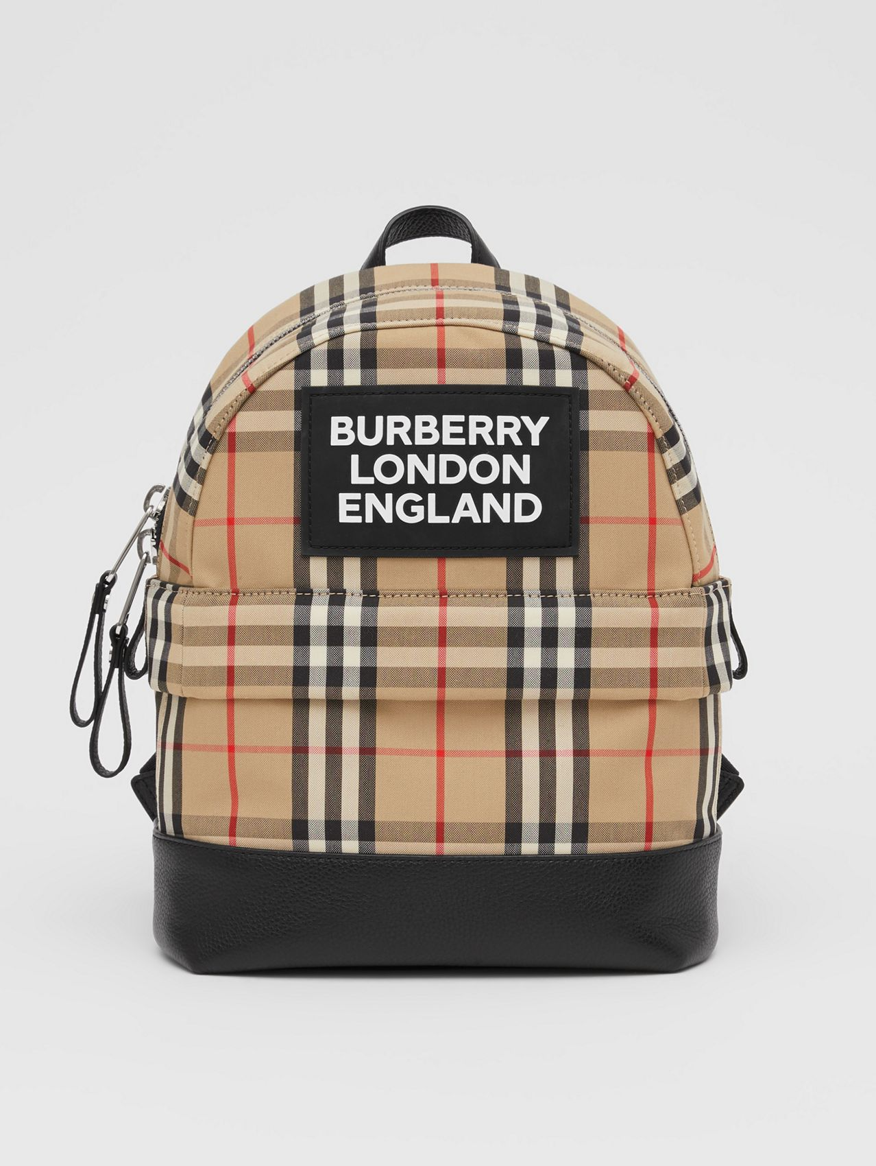 Logo Appliqué Vintage Check Backpack in Archive Beige