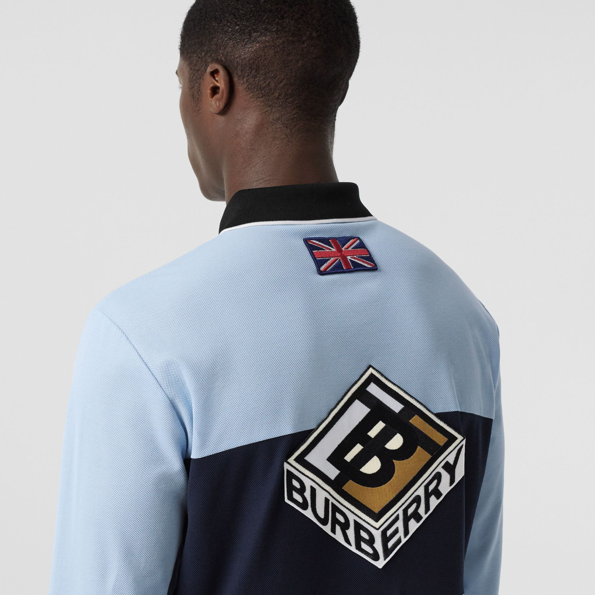 Long-sleeve Logo Graphic Cotton Piqué Polo Shirt in Pale Blue - Men | Burberry United Kingdom - gallery image 4