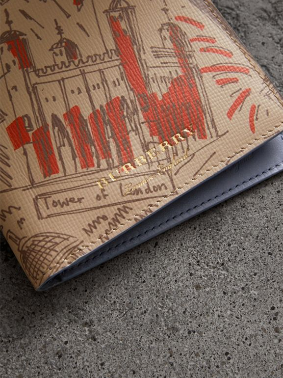 London Print Leather International Bifold Wallet in Multicolour - Men | Burberry - cell image 1