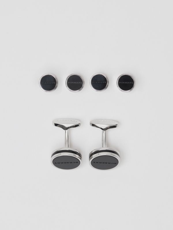Engraved Agate Stud and Cufflink Set in Silver - Men | Burberry - cell image 2