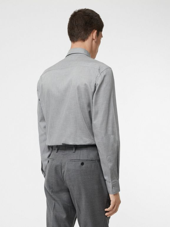 Monogram Button Cotton Shirt in Light Grey | Burberry - cell image 1