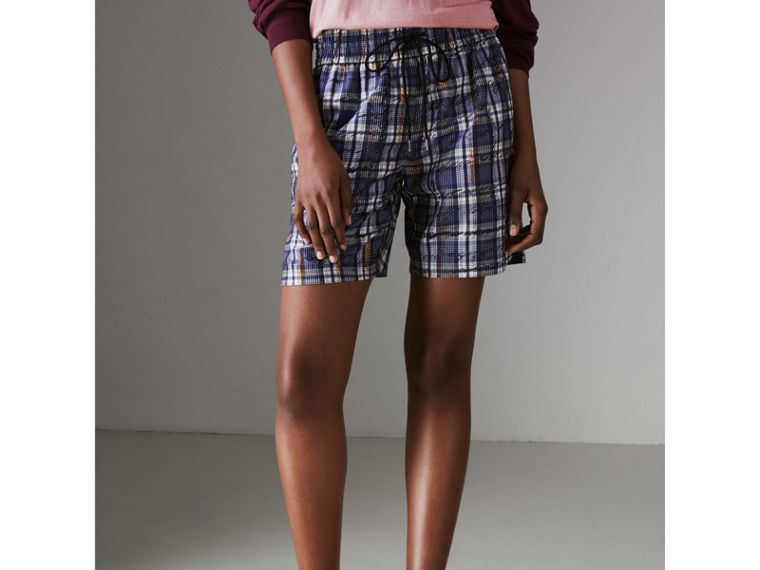 Scribble Check Silk Drawstring Shorts in Navy/white - Women | Burberry Australia - cell image 4