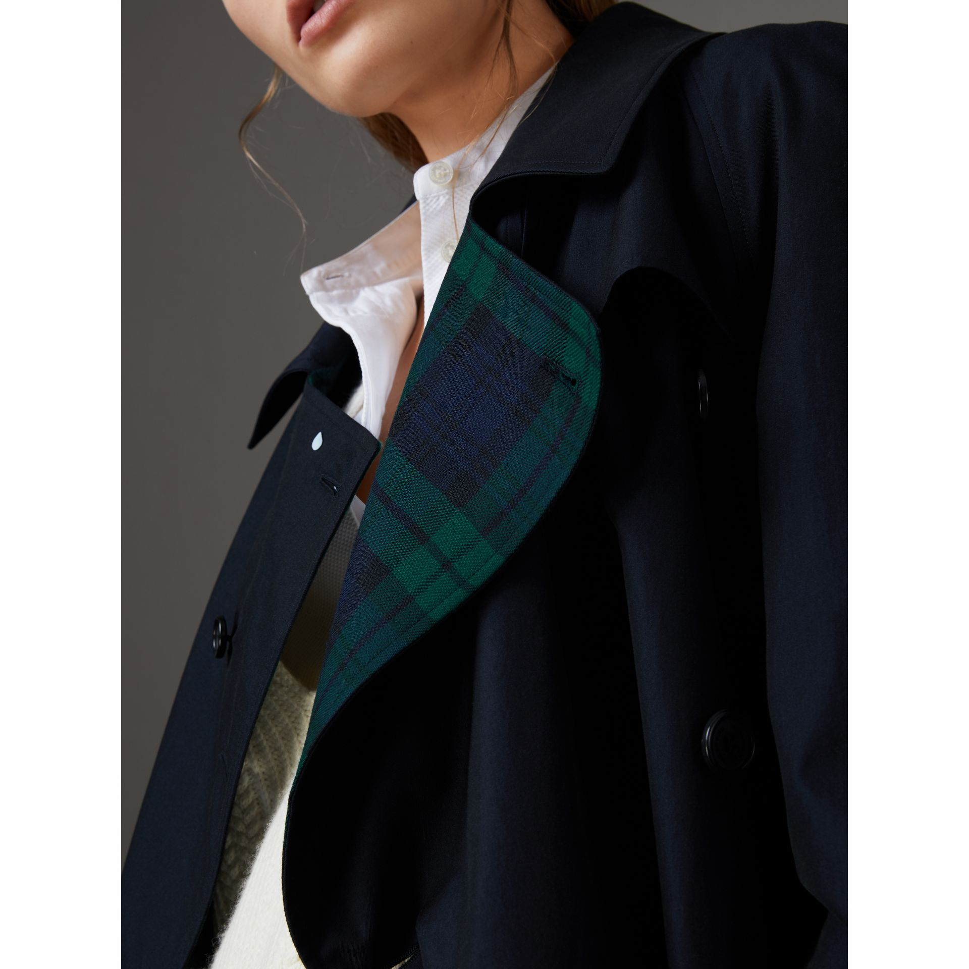 Tropical Gabardine Asymmetric Trench Coat in Blue Carbon - Women | Burberry - gallery image 1