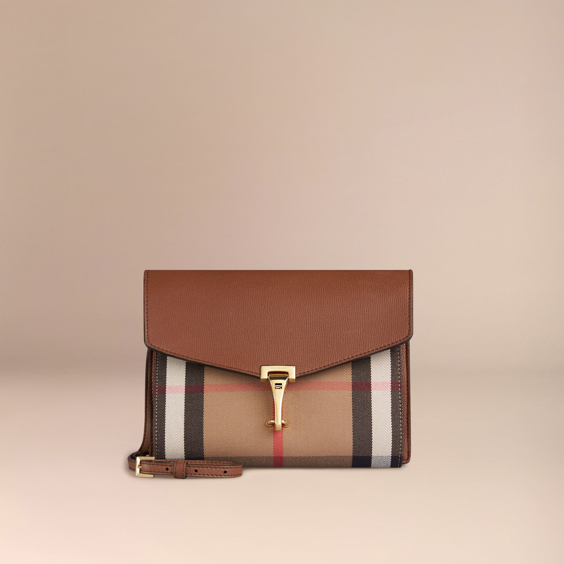 Tan Small Leather and House Check Crossbody Bag Tan - gallery image 5