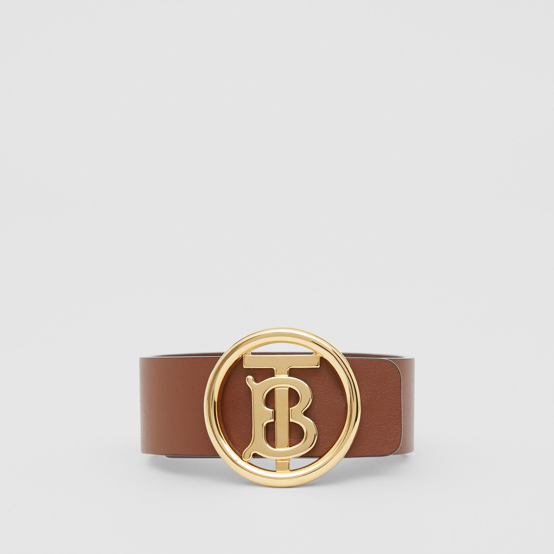Monogram Motif Leather Bracelet in Tan - Women | Burberry - gallery image 0