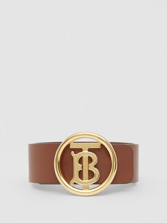 Monogram Motif Leather Bracelet in Tan