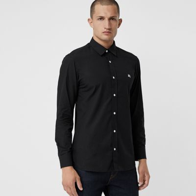 Contrast Button Stretch Cotton Shirt by Burberry