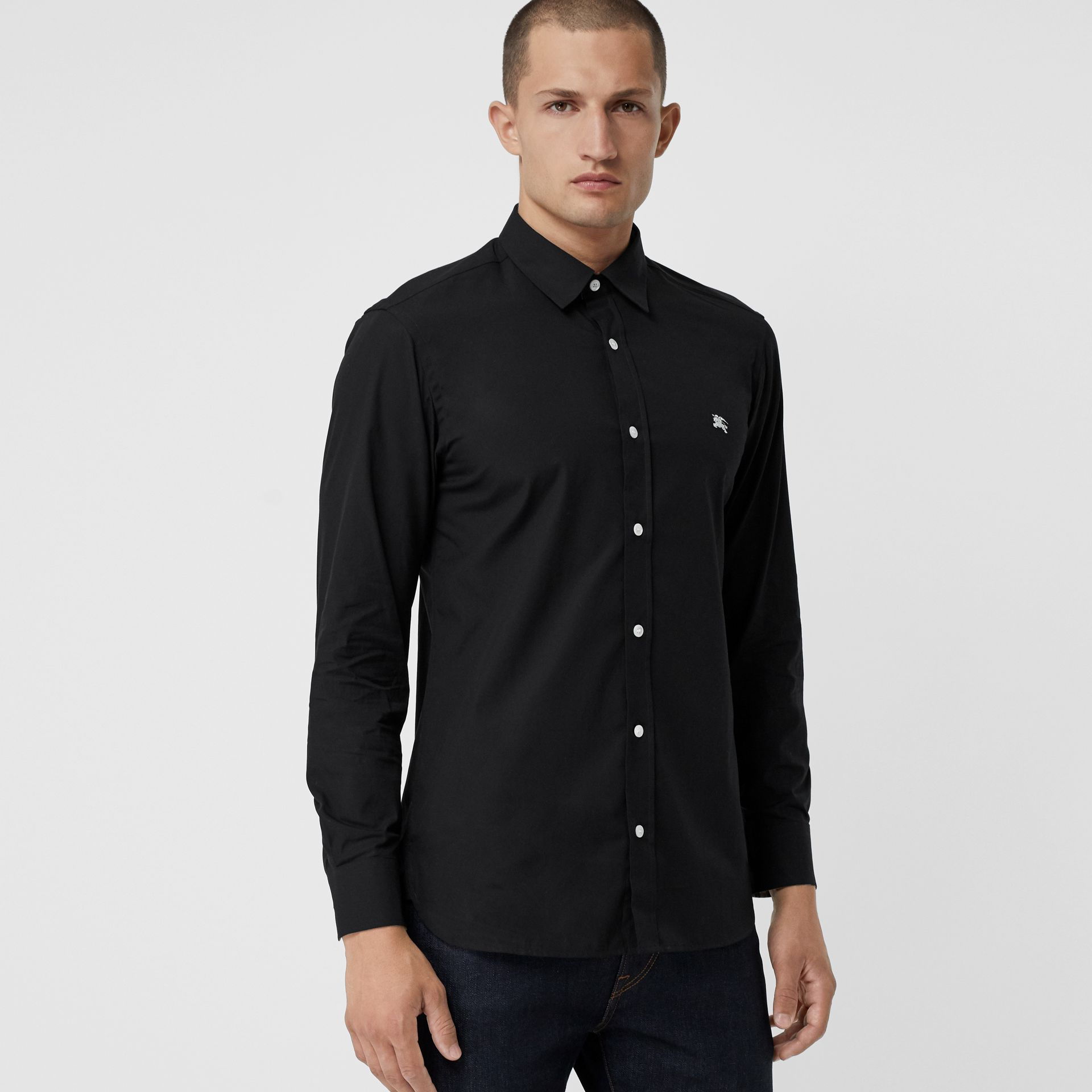 Contrast Button Stretch Cotton Shirt in Black - Men | Burberry - gallery image 0