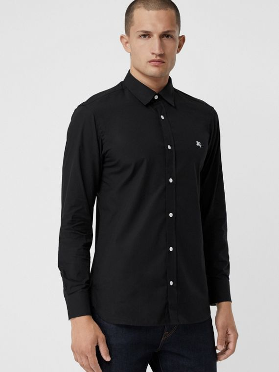 Contrast Button Stretch Cotton Shirt in Black