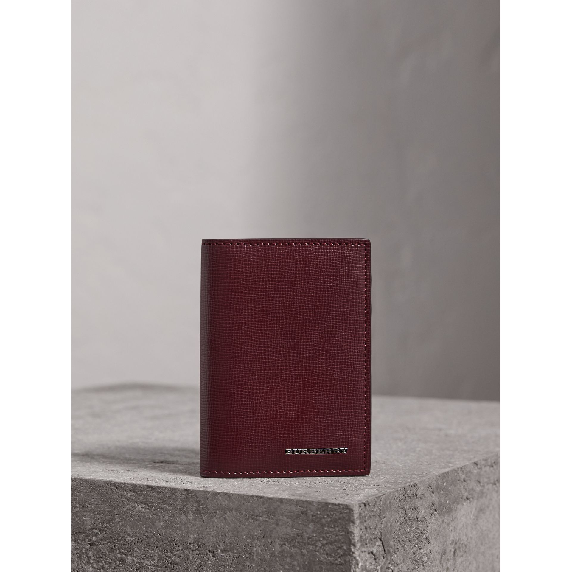 London Leather Folding Card Case in Burgundy Red | Burberry Canada - gallery image 4