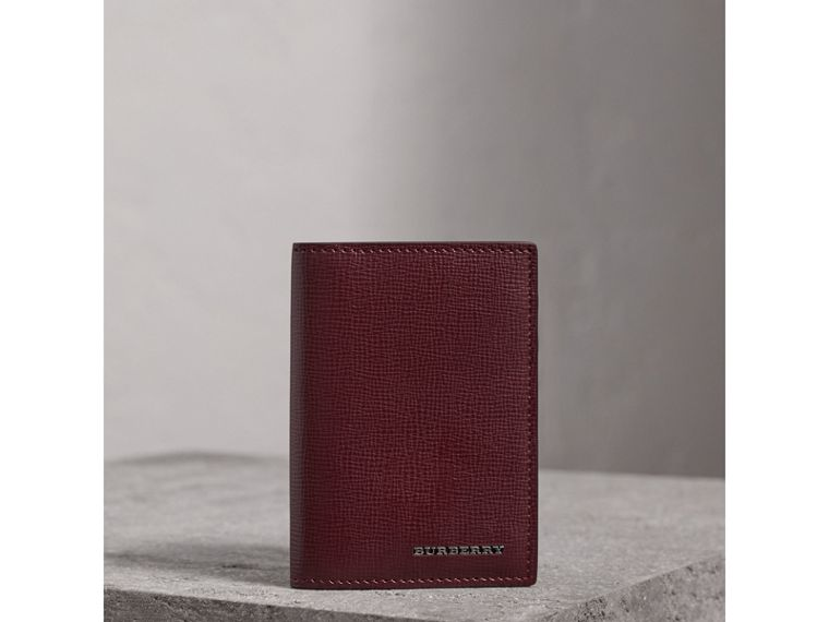 London Leather Folding Card Case in Burgundy Red | Burberry - cell image 4