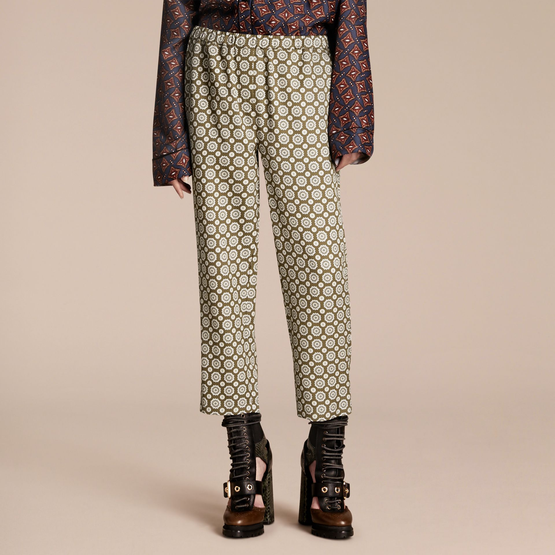 Pyjama Print Cropped Silk Cotton Pyjama-style Trousers in Yellow Olive - gallery image 1
