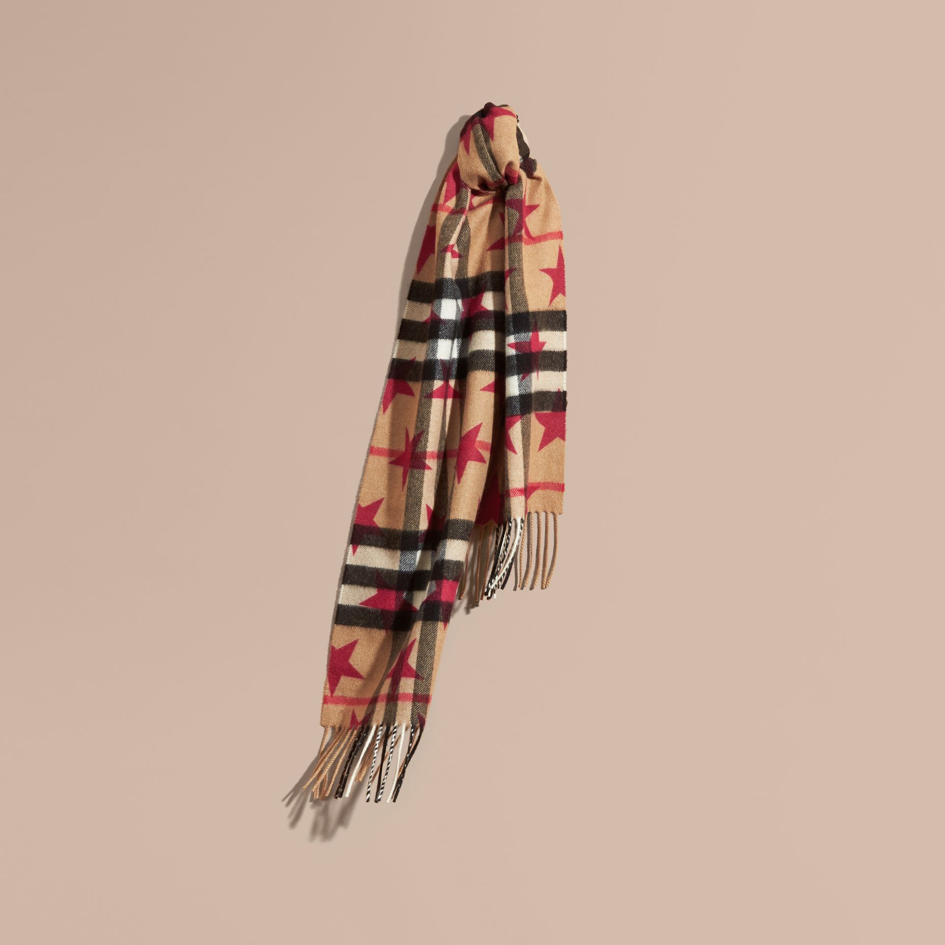 Fuschia The Mini Classic Cashmere Scarf in Check with Star Print Fuschia - gallery image 4