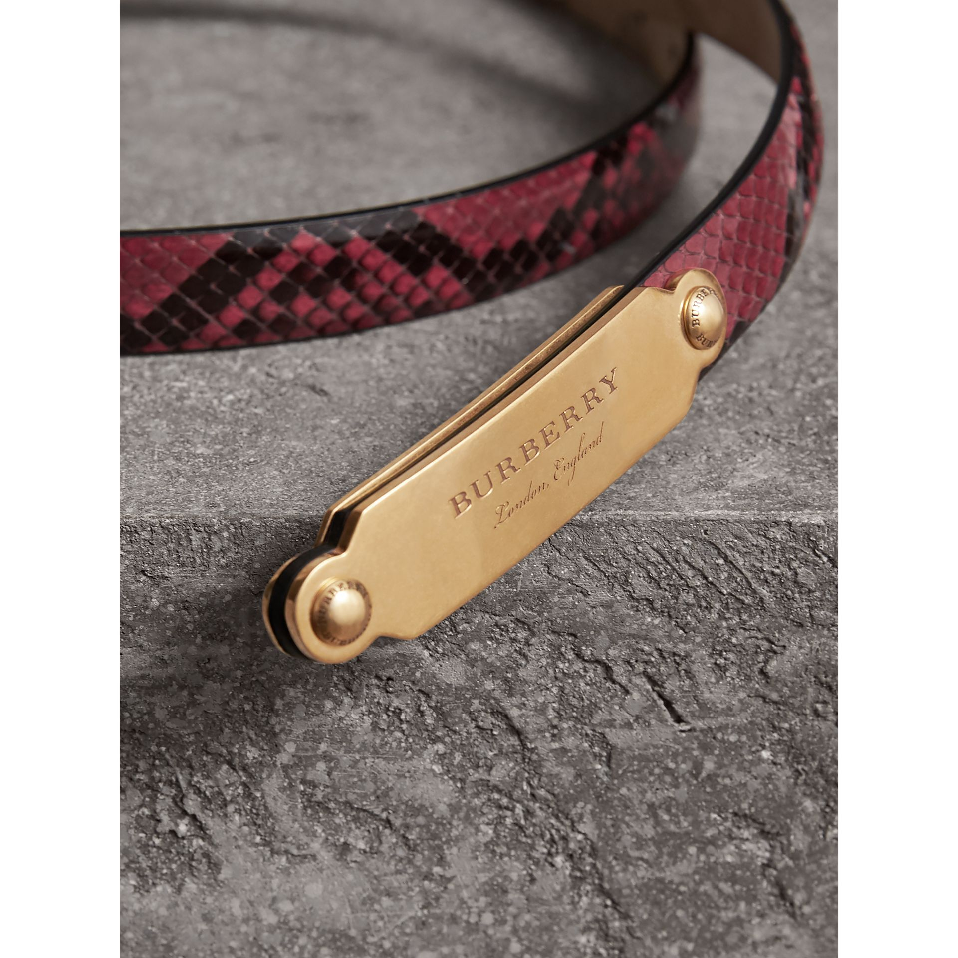 Brass Plaque Buckle Python Belt in Claret Pink - Women | Burberry Singapore - gallery image 1
