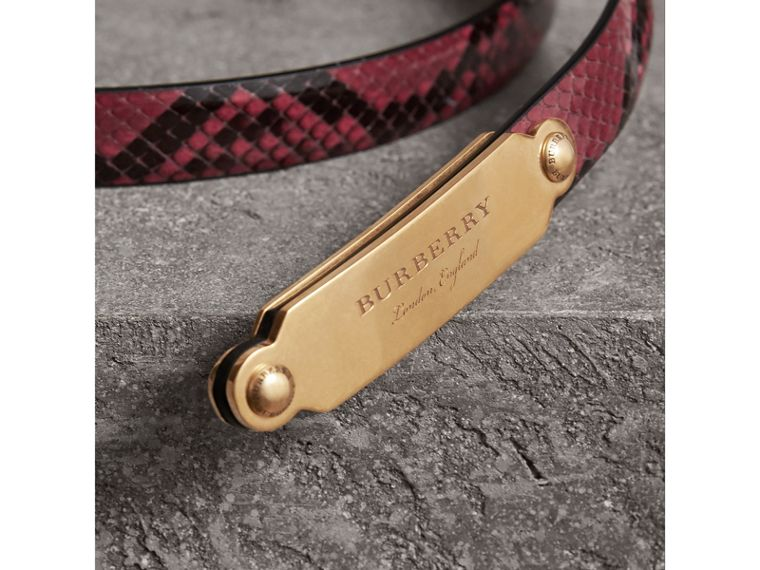 Brass Plaque Buckle Python Belt in Claret Pink - Women | Burberry - cell image 1