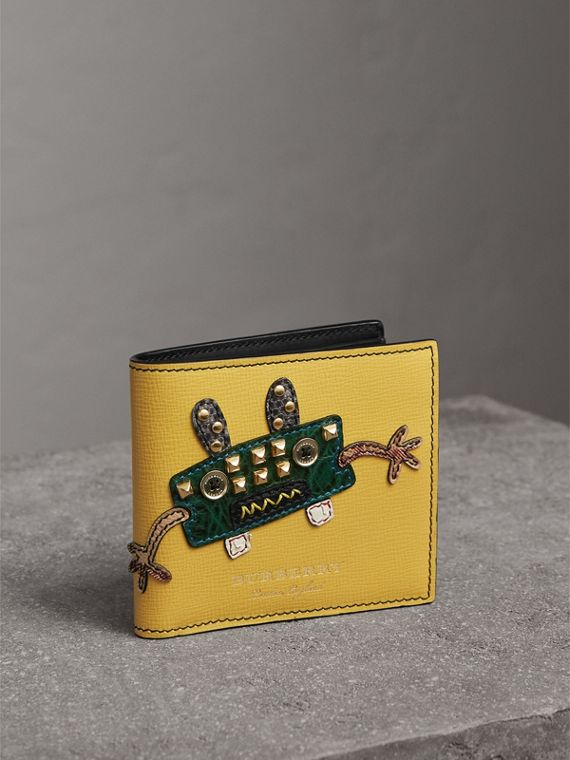 Creature Appliqué Leather International Bifold Wallet in Ochre Yellow