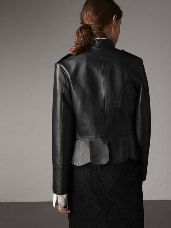 Lambskin Military Jacket in Black - Women | Burberry - cell image 2