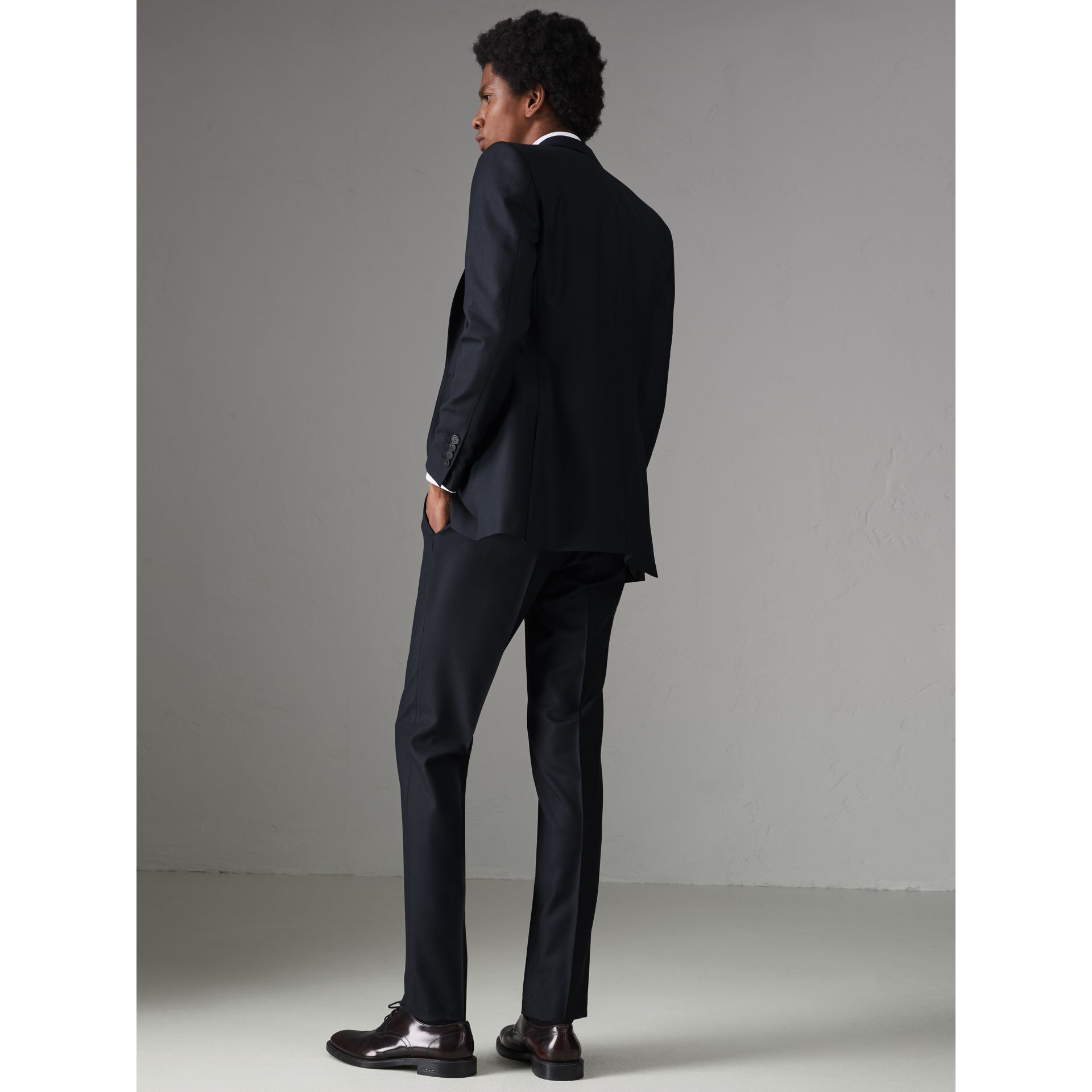 Slim Fit Birdseye Wool Suit in Navy - Men | Burberry - gallery image 2