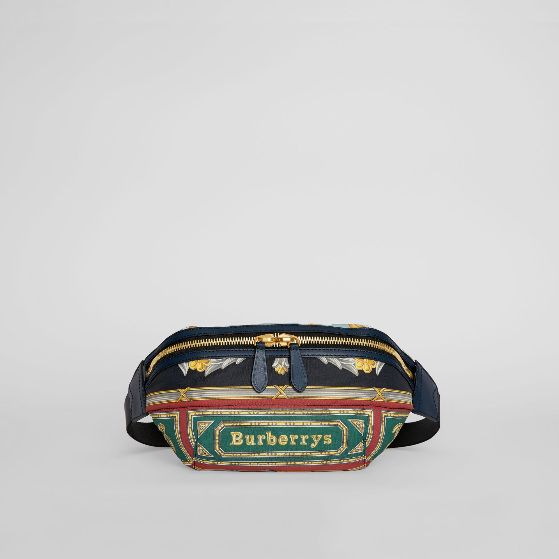 Medium Archive Scarf Print Bum Bag in Forest Green | Burberry - gallery image 4