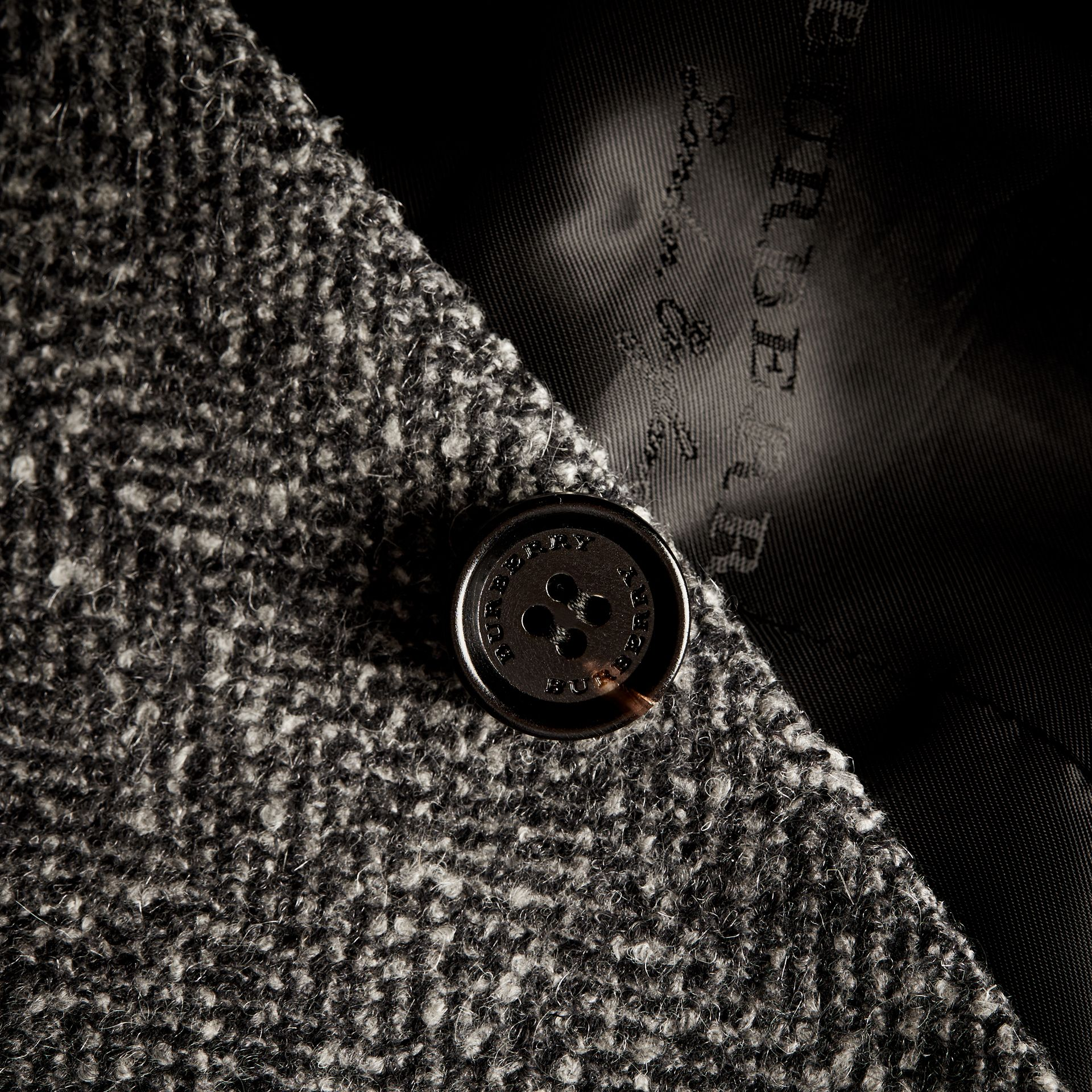 Dark grey Tailored Wool Cashmere Blend Donegal Tweed Jacket - gallery image 2