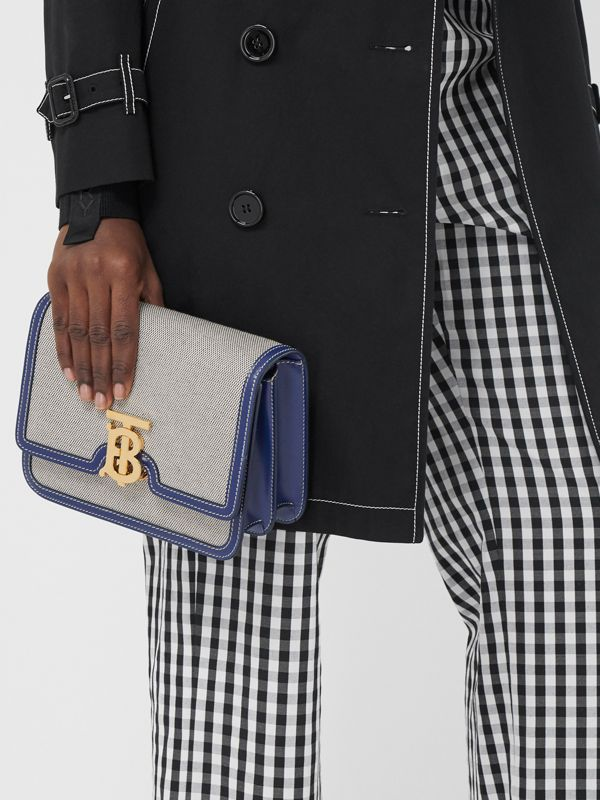 Small Two-tone Canvas and Leather TB Bag in Ink Navy - Women | Burberry - cell image 2