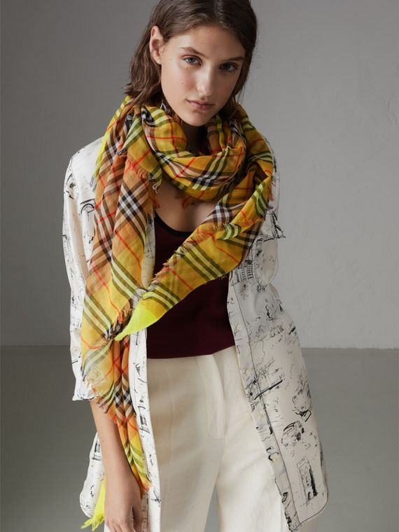 Two-tone Vintage Check Cotton Square Scarf in Bright Lemon